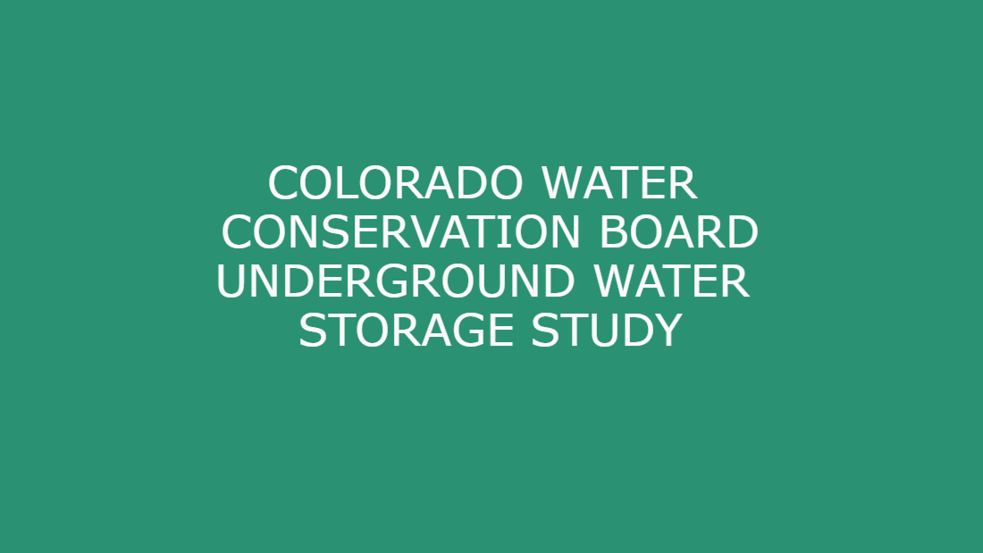 Colorado Water Conservation Board Study