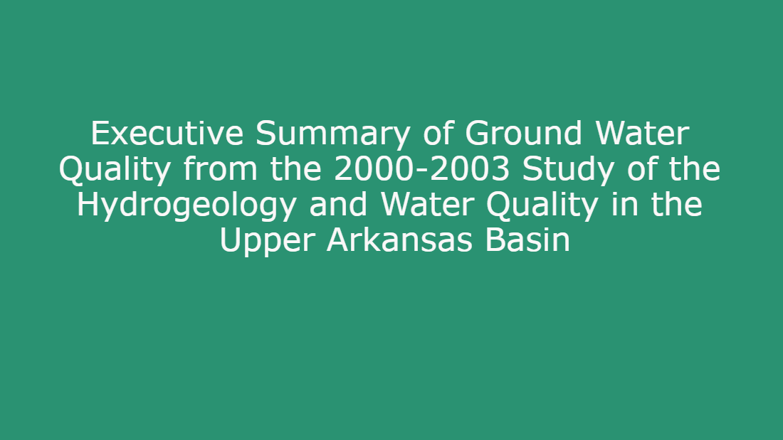 Groundwater Sustainability & Water Quality